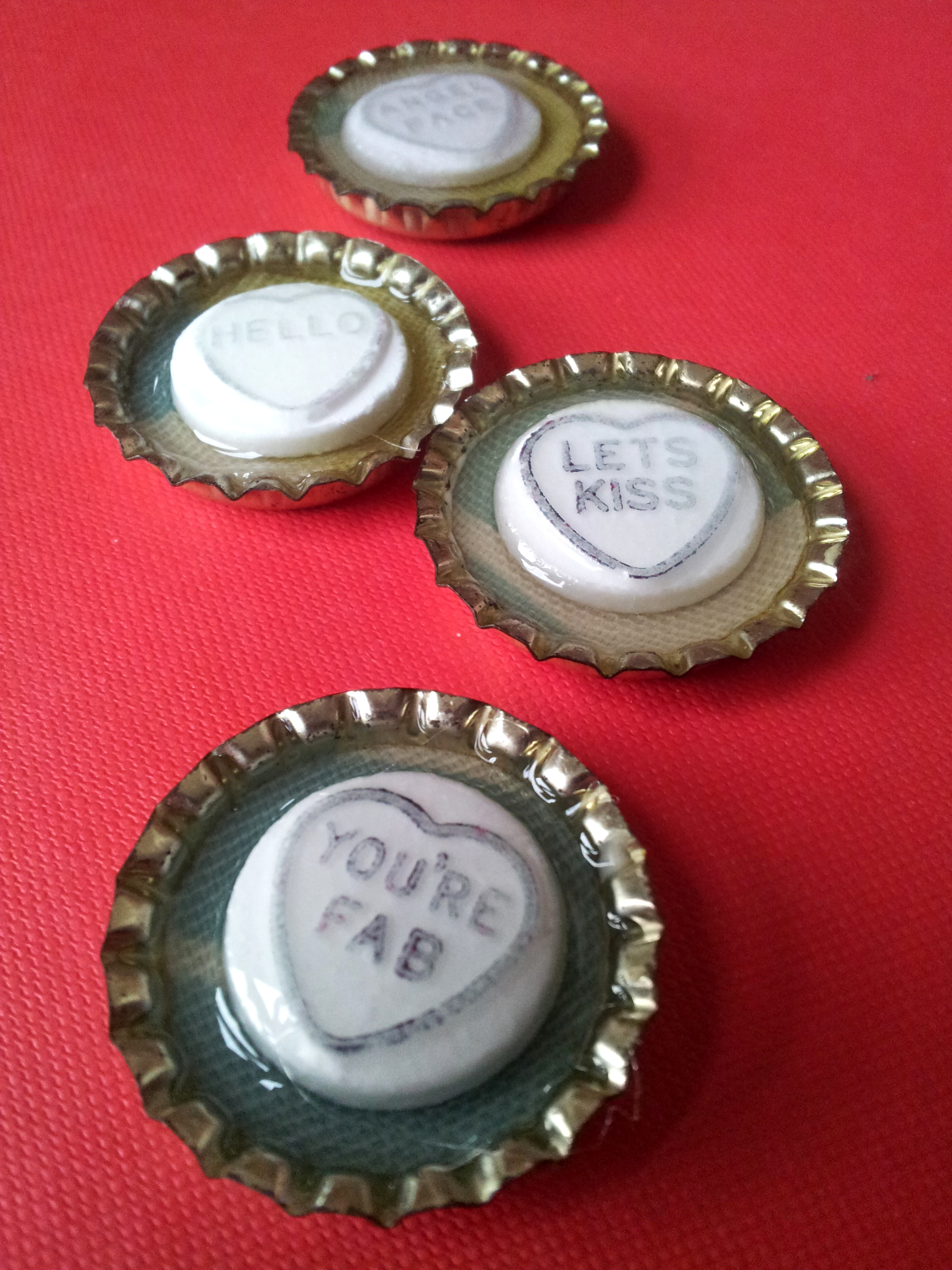 Valentines Day Bottle Top Magnets
