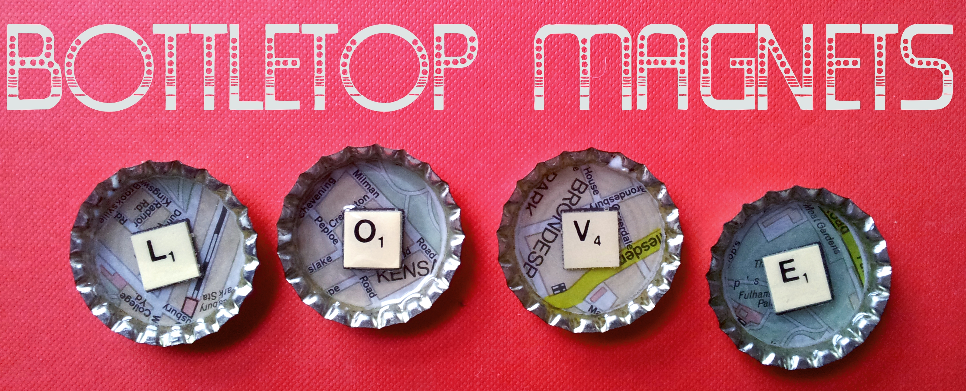 Bottle top magents scrabble maps