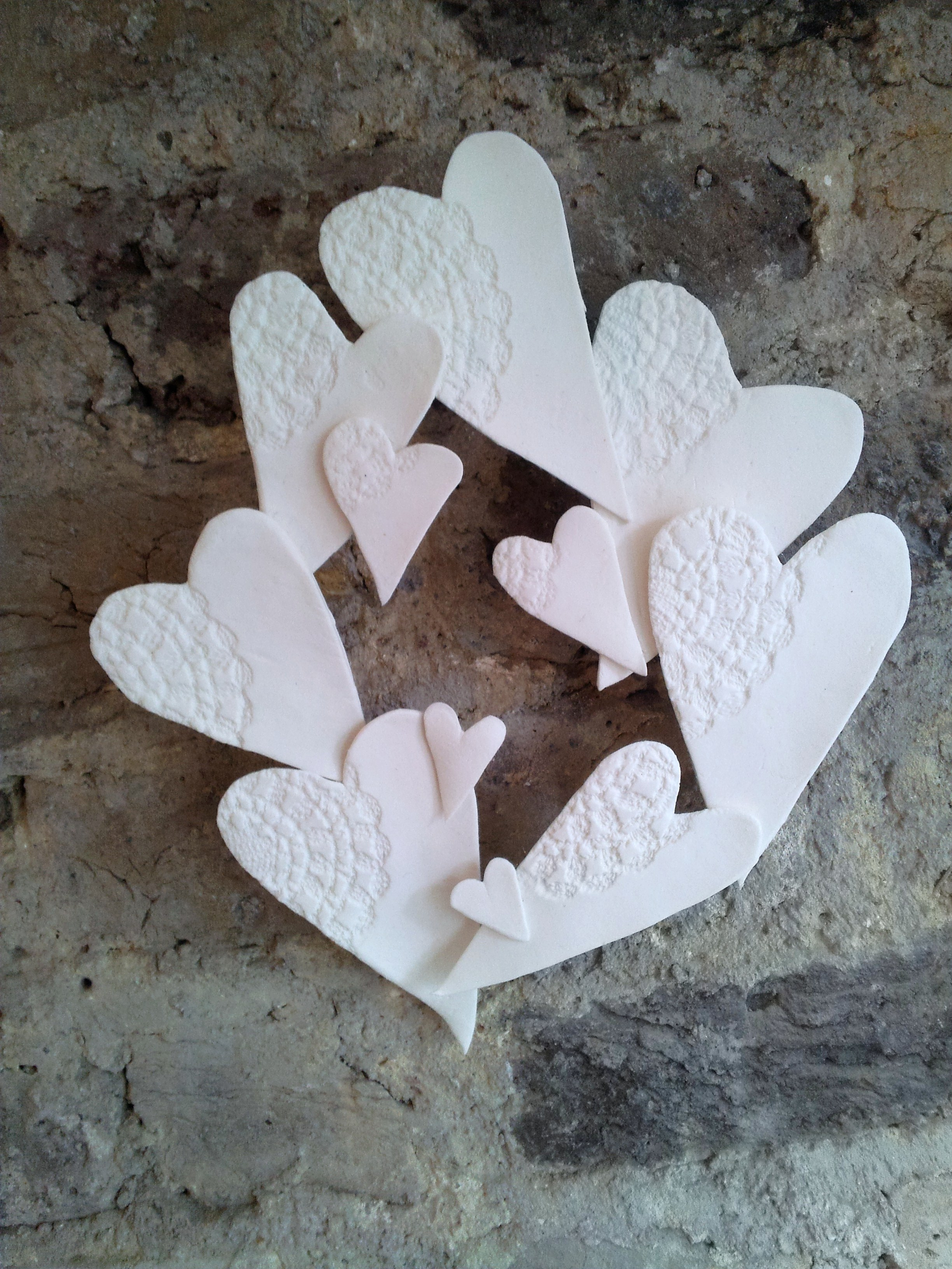 Valentines Decoration Air dry dough doily