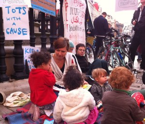 The Kids corner at Occupy- Tots with a Cause teehee!