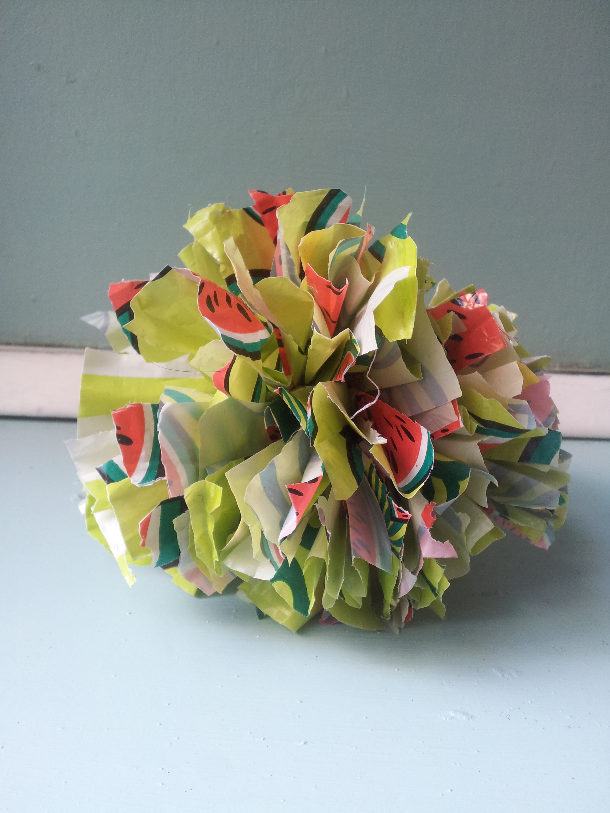 Pom Pom grocery bag spring craft
