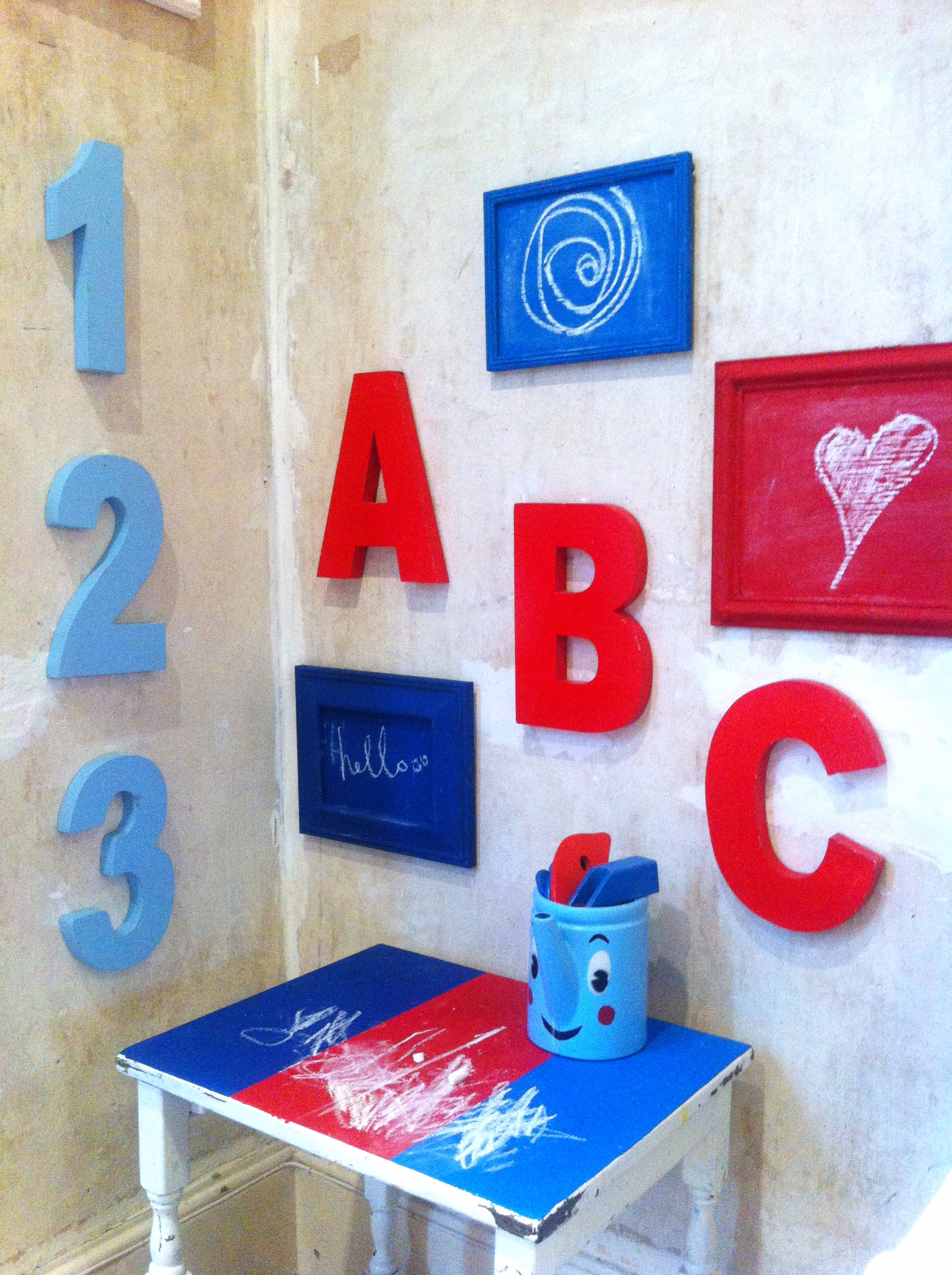 Upcycled toddler space using homemade coloured chalkboard paint