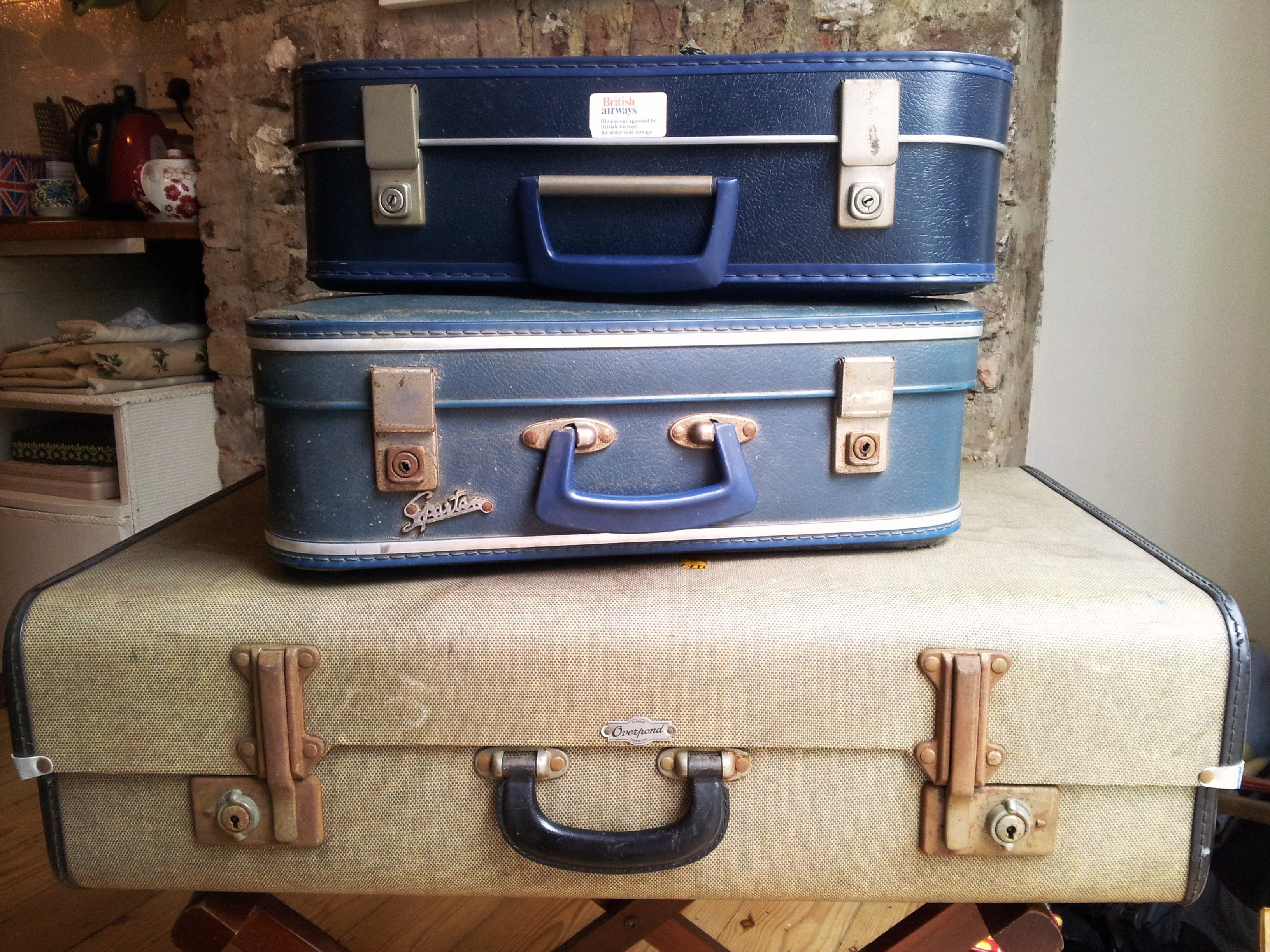 Car boot vintage suitcases