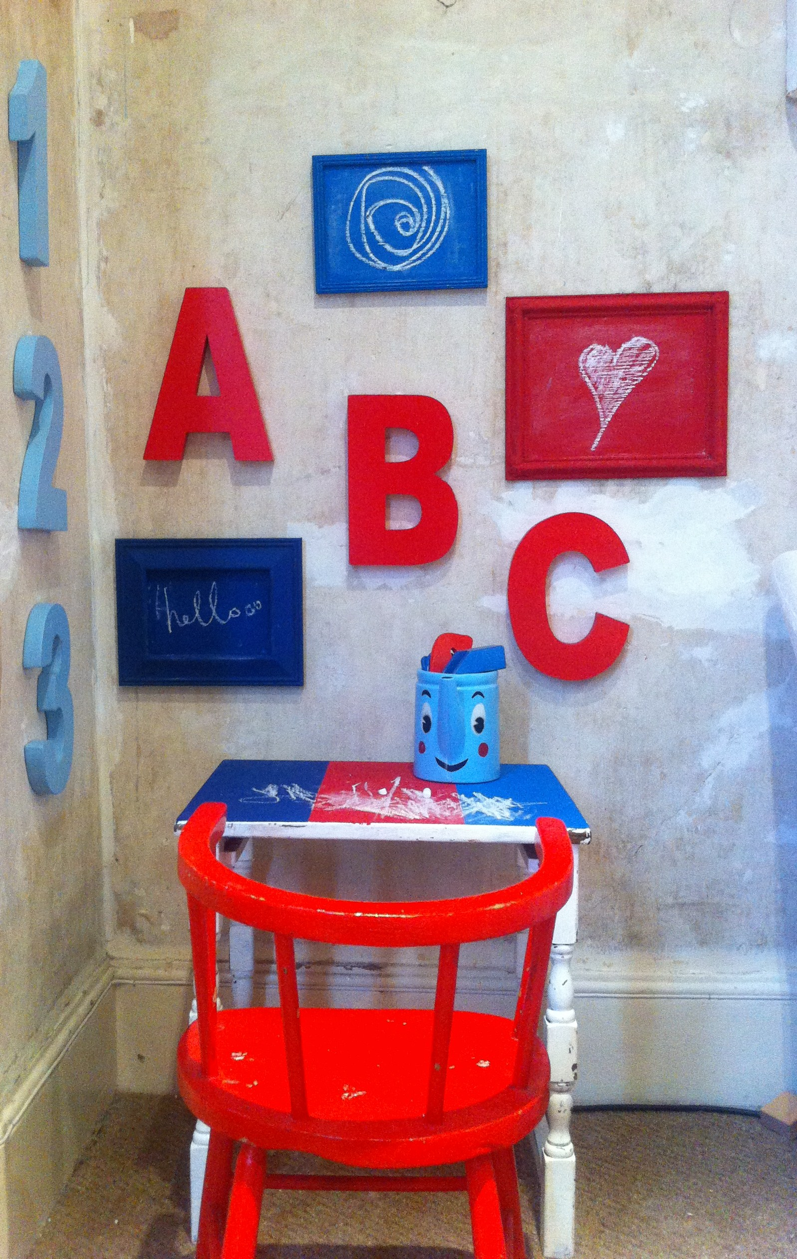 Upcycled Kid's corner using homemade chalkboard paint