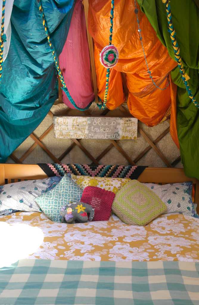 colourful family bed in yurt
