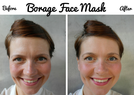Homemade Borage Face Mask - before and after