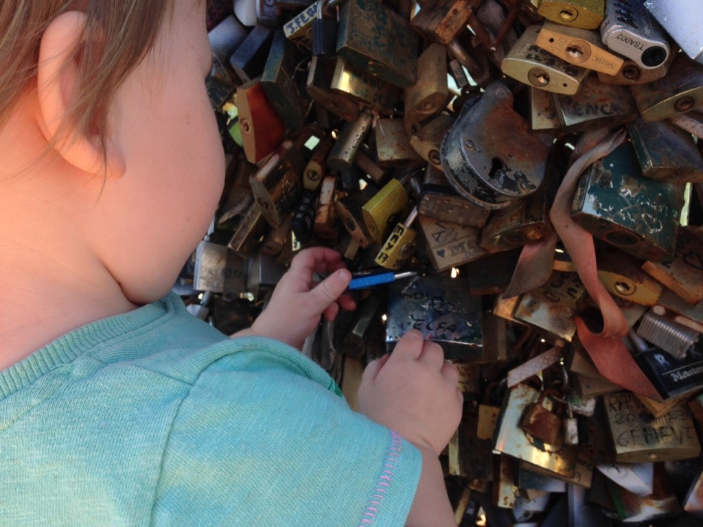 Paris with kids - love lock bridge