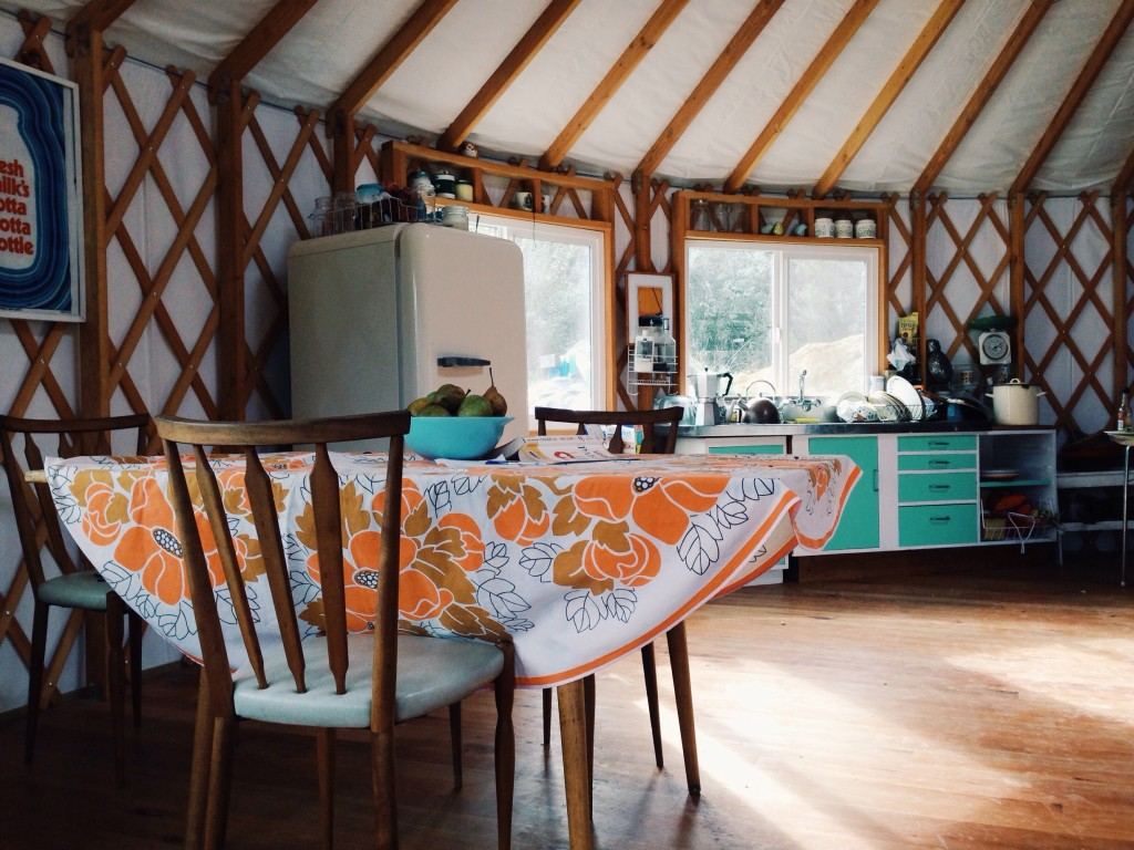 Inside our yurt house